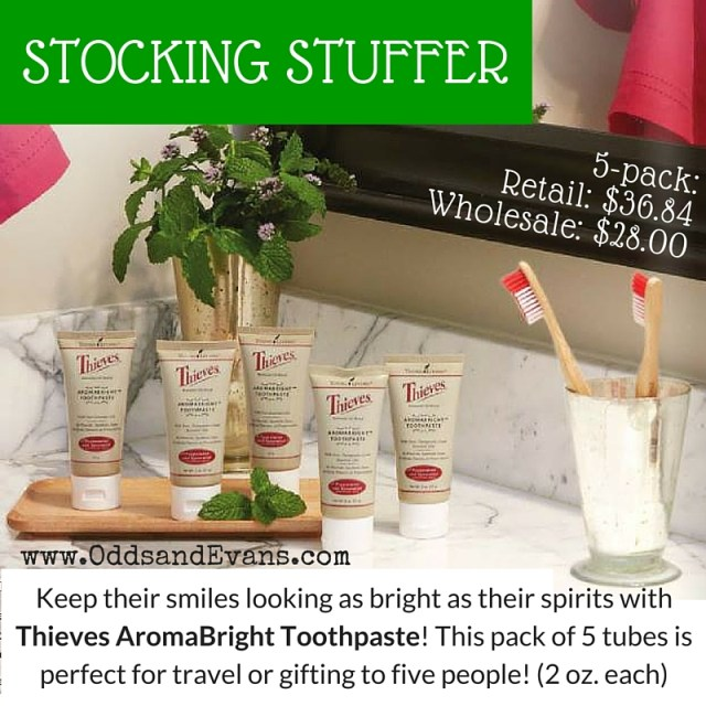 AromaBright Toothpaste Pack of 5 stocking stuffers from Young living essential oils