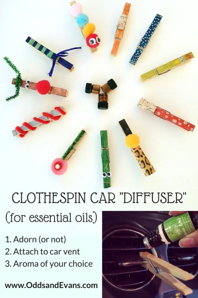 car Clothespin Diffuser for essential oils DIY | OddsandEvans