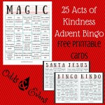 25 Acts of Kindness Alternative Advent Bingo Free Printable Cards for Christmas
