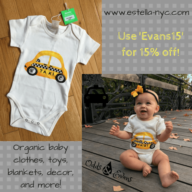 Organic cotton baby onesie clothes baby gifts toys decor Estella NYC promo code discount