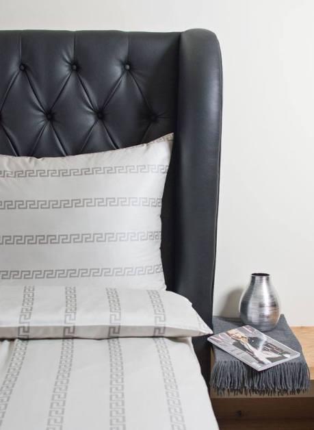 Weiche seidige elegante Luxus Hefel Mäander Kissenbezug Bettgarnitur TENCEL® Lyocell Bettwäsche Tuchent Mäandermuster Farbe: 6