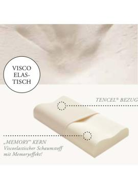HEFEL Nackenstützkissen Memory - High Tech Schaum sorgt für Schwerelosigkeit des Kopfes kombiniert mit Atmungsaktivität durch TENCEL™ Lyocell Faser Jersey Bezug