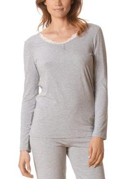 MEY Jana Homewear Shirt langarm graumeliert mit MicroModal® vorne