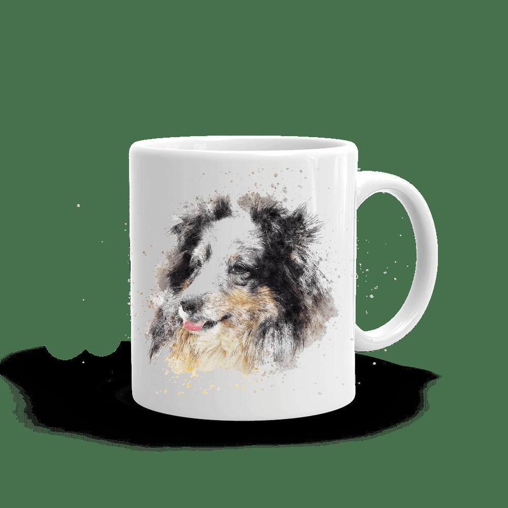 mugg med tryck av shetland sheepdog hund