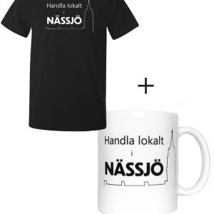 ett varukit med svart t-shirt och tryckt mugg med uppmaning att handla lokalt för att stödja butiker