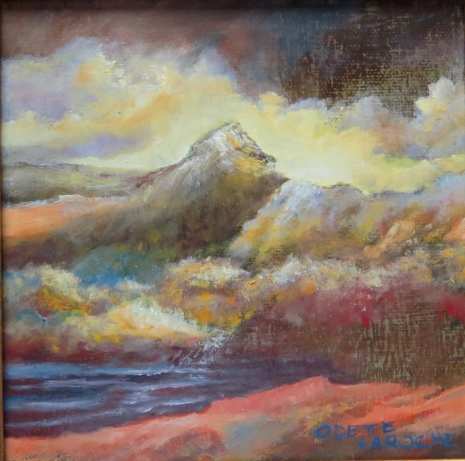 An oil on canvas painting of a tall mountain overlooking some trees and the ocean by Odette Laroche in Sidney, BC.