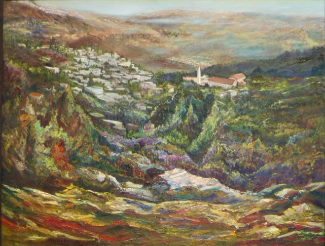 An oil on canvas painting of a village near the edge of a cliff on a hillside by Odette Laroche in Sidney, BC.