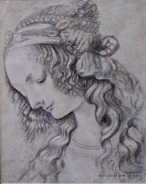 A pencil drawing of a woman who looks like Mona Lisa by Odette Laroche in Sidney, BC.