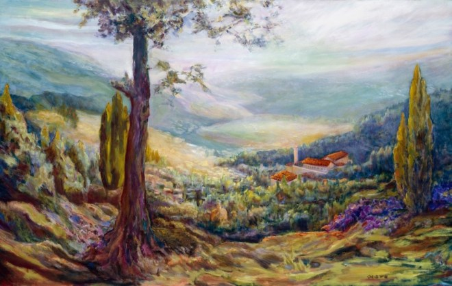 An oil on canvas painting of a village tucked away into a tree-covered hillside in a valley by Odette Laroche in Sidney, BC.
