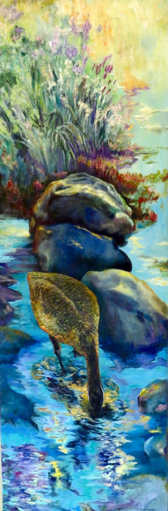 An oil on canvas painting of a Canadian goose dipping its head into a stream during a sunny day by Odette Laroche in Sidney, BC.