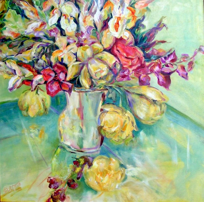 An oil on canvas painting of spring flowers in a vase by Odette Laroche in Sidney, BC.