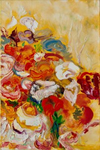 An oil on canvas painting of red, pink, white, and orange flowers in a bouquet by Odette Laroche in Sidney, BC.