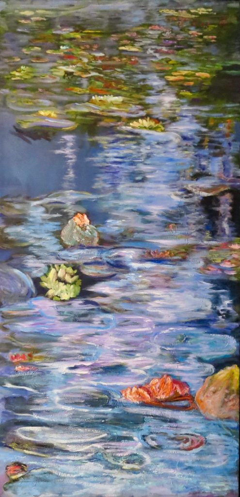 An oil on canvas painting of waterlilies in a pond with ripples flowing into the distance by Odette Laroche in Sidney, BC.