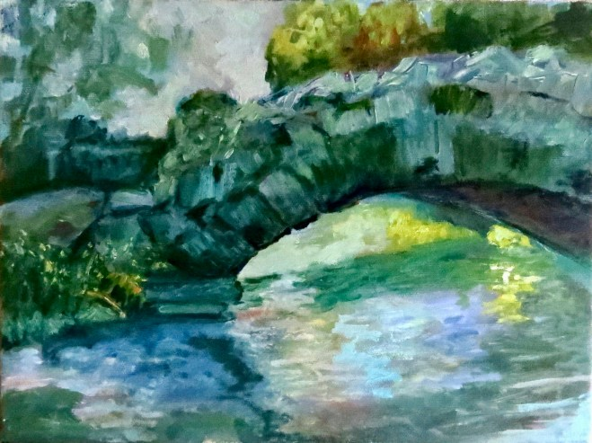 An oil on canvas painting of a stone bridge over a stream by Odette Laroche in Sidney, BC.