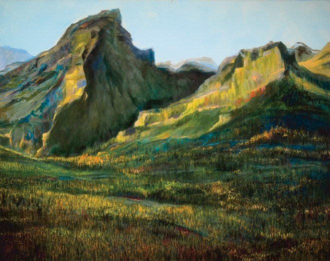 An oil on canvas painting of two mountains from the Valley of Ten Peaks in Alberta by Odette Laroche.
