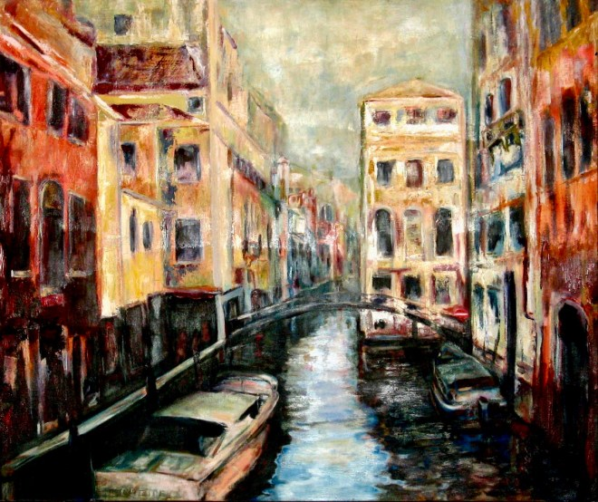 An oil on canvas painting of a canal in Venice surround by some worn down buildings by Odette Laroche in Sidney, BC.