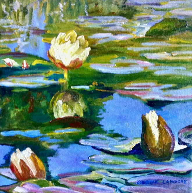 An oil on canvas painting of white waterlilies surrounded by watery blues and shades of green by Odette Laroche in Sidney, BC.