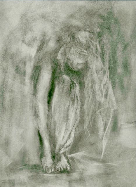 A charcoal drawing of a dancer getting ready for performance by Odette Laroche in Sidney, BC.