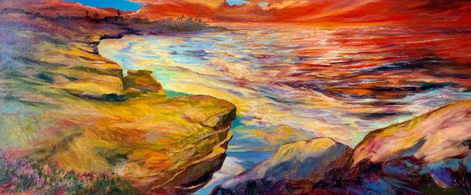 An oil on canvas painting of a sunset over La Jolla Cove by Odette Laroche in Sidney, BC.