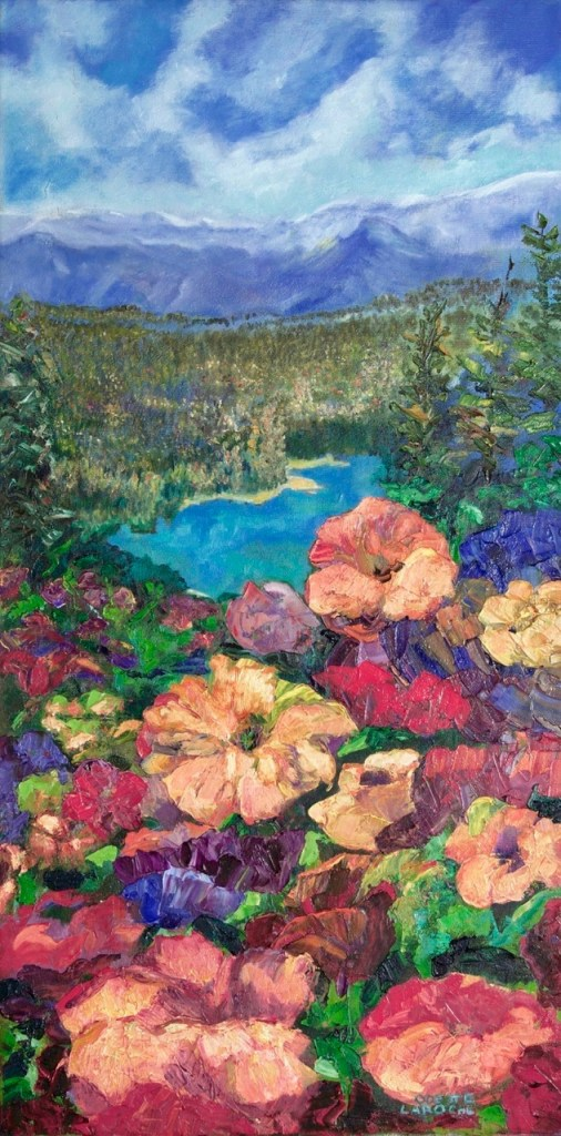An oil on canvas painting of a stream flowing through a scenic valley surrounded by mountains in Banff by Odette Laroche in Sidney, BC.