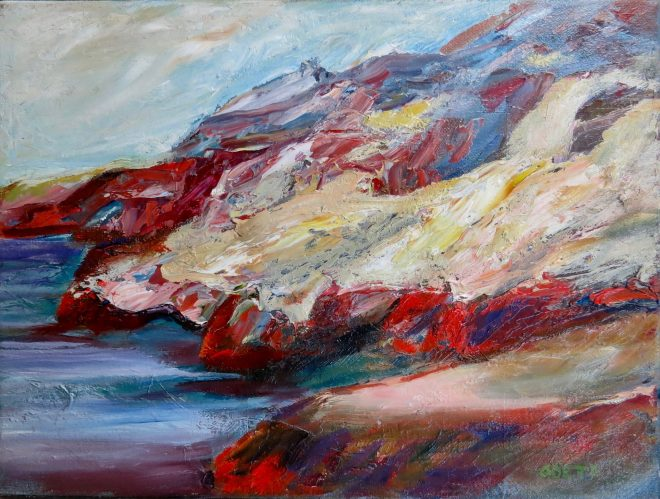 An oil on canvas painting of some cliffs overlooking the ocean in White Rock, BC by Odette Laroche.