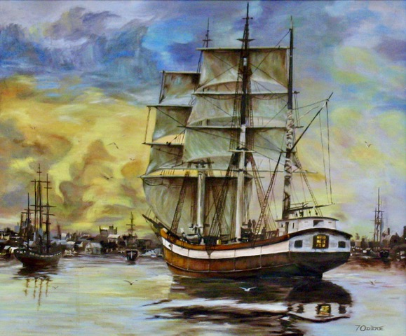 An oil on canvas painting of a galleon sailing towards a port by Odette Laroche in Sidney, BC.