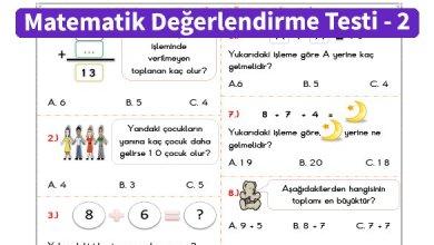 Photo of İlkokul 1.Sınıf Matematik Değerlendirme Testi – 2