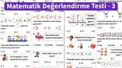 Photo of İlkokul 1.Sınıf Matematik Değerlendirme Testi – 3
