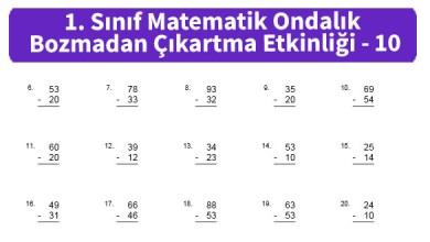 Photo of İlkokul 1. Sınıf Matematik Ondalık Bozmadan Çıkartma Etkinliği – 10