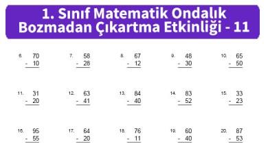 Photo of İlkokul 1. Sınıf Matematik Ondalık Bozmadan Çıkartma Etkinliği – 11