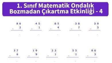 Photo of İlkokul 1. Sınıf Matematik Ondalık Bozmadan Çıkartma Etkinliği – 4