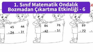 Photo of İlkokul 1. Sınıf Matematik Ondalık Bozmadan Çıkartma Etkinliği – 6