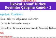 Photo of İlkokul 3.sınıf Türkçe Deyimler Çalışma Kağıdı – Pdf İndir