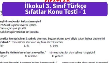 Photo of İlkokul 3. Sınıf Türkçe Sıfatlar Konu Testi – Pdf İndir
