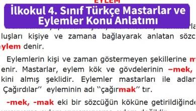 Photo of İlkokul 4. Sınıf Türkçe Mastarlar ve Eylemler Konu Anlatımı – Pdf İndir