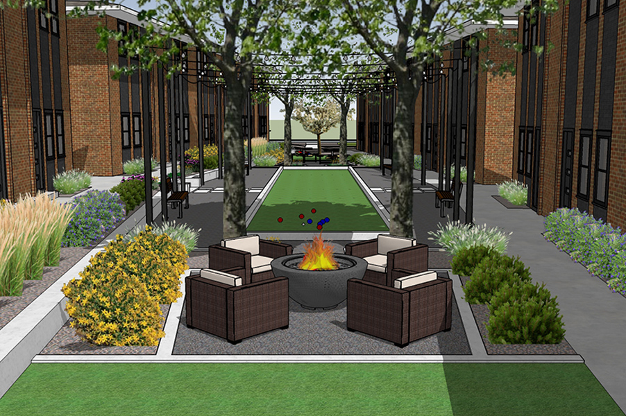Estate Park Townhomes 3D Model Firepit & Seating