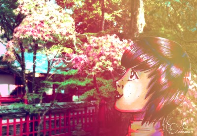 Nara momiji, dessin au marqueur et photomanipulation