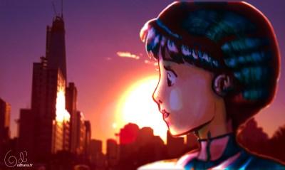 Seoul sunset, dessin au marqueur et photomanipulation