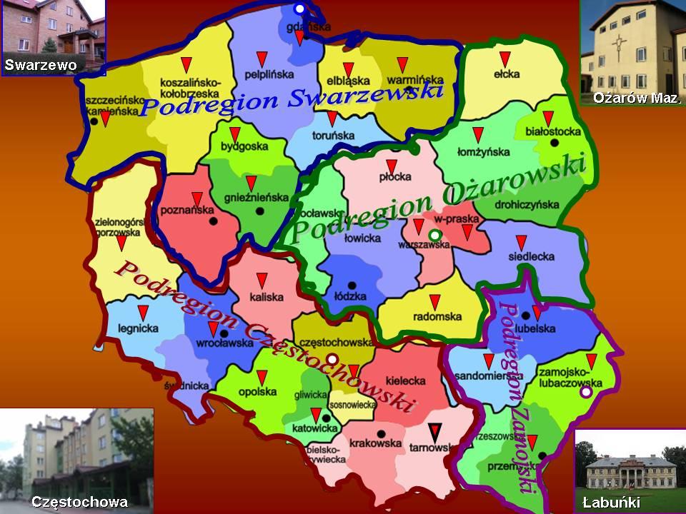Podział diecezji na Podregiony