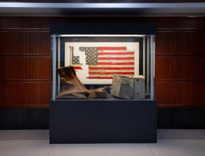 9/11 artifacts, displayed in memoriam, in front of the main auditorium at Liberty Crossing.
