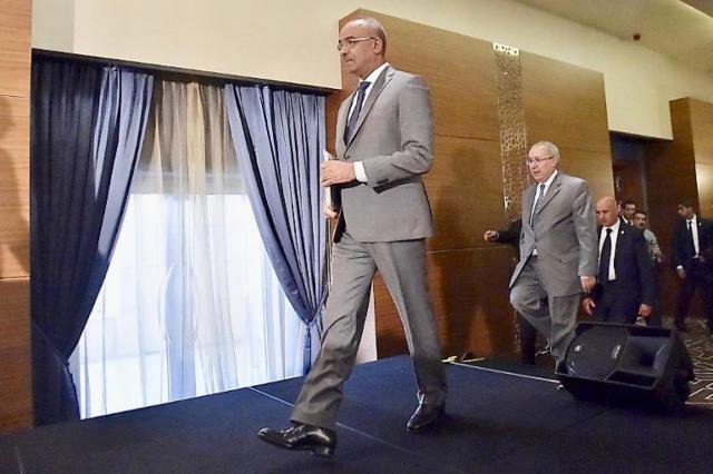 Algeria's Prime Minister Noureddine Bedoui arrives for news conference in Algiers earlier this month