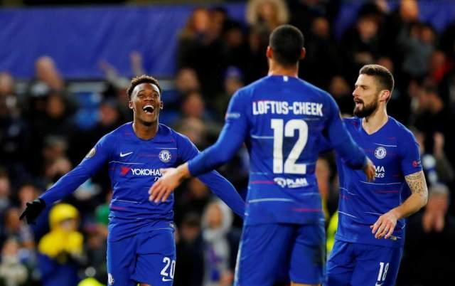 Callum Hodson-Odoi celebrates with Loftus-Cheek after scoring yesterday