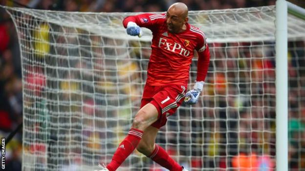 Watford keeper Heurelho Gomes was ecstatic when Troy Deeney's penalty sent the game into extra time and he was in tears at the end of the game
