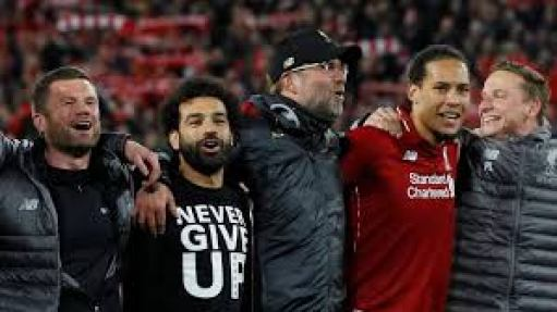 Liverpool Payers celebrate after overcoming Barca in theb semi- final played at Anfield