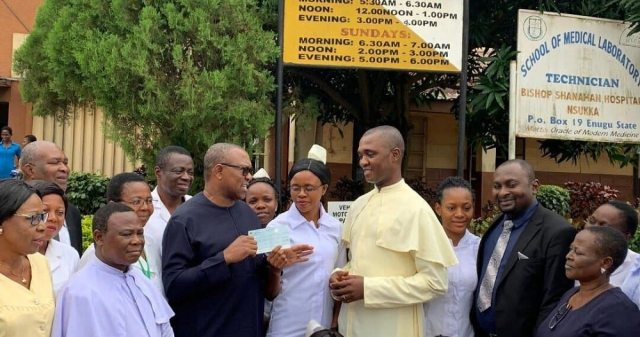 Peter Obi at the Shanahan Hospital, Nsukka