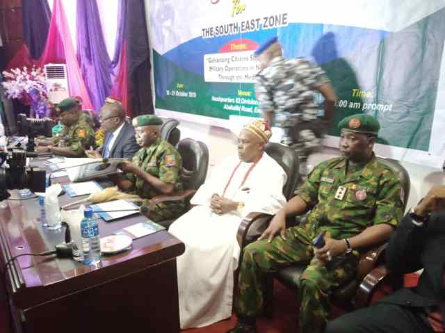 Acting Director, APR, Sagir and   others at the high table duirng the Army Civil Media Military Relations   summit