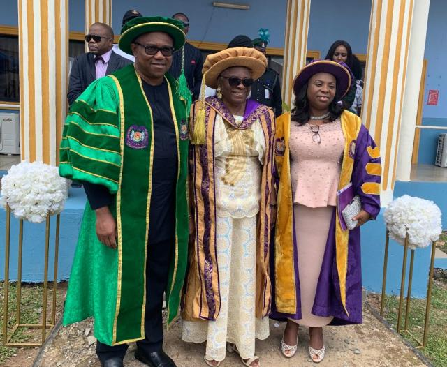 The Chancellor of Chrisland University, Dr. Winifred Awosika (middle) and the Vice Chancellor, Professor Chinedum Babalola (right), with Mr. Peter Obi (left), who delivered the maiden convocation speech of the University at Awode, Abeokuta, Ogun State