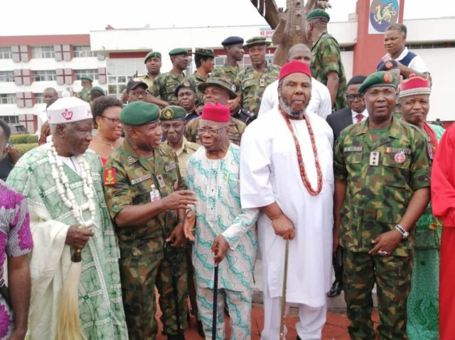 Representative of Chief of Army   Staff Udoh explaining to Actors Zebruddaya and Pete Edochie , Acting DAPR,   Sagir at 2 day summit in Enugu
