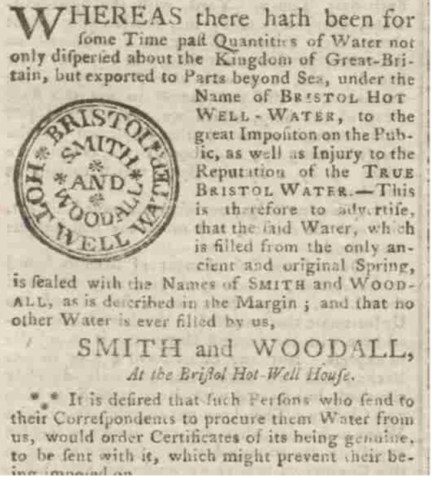 1763 advertisement for Bristol Hot Wells