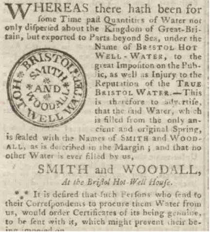 1763 advertisement for Bristol Hot Wells